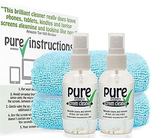 PURE - KIT DE NETTOYAGE POUR ECRAN (2x60ml) de Pure Organics. Formule écologique, biodégradable et hypoallergénique sans alcool isopropylique ni produits toxiques.