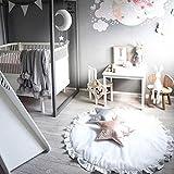 Baby Kleinkind Krabbelmatte, weiche runde Spielmatte Spielmatte Spielmatte Kinderbett Baldachin Teppich Kinderzimmer Dekoration für Baby
