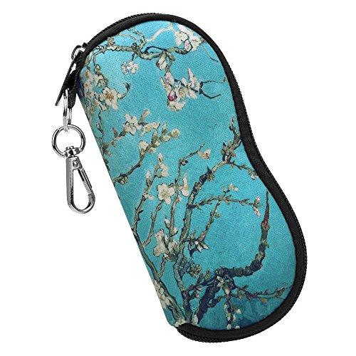 Fintie Brillenetui - [Ultraleicht] Neopren Reißverschluss Sonnenbrille Tasche Kratzfest staubsichere Brillenbox mit Karabinerhaken für Schlüssel, Bleistifte, Karten - Mandelblüten