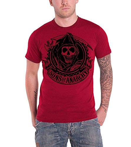 irt SOA Reaper Banner offiziell Herren Nue Rot (Sons Of Anarchy Opie T-shirt)