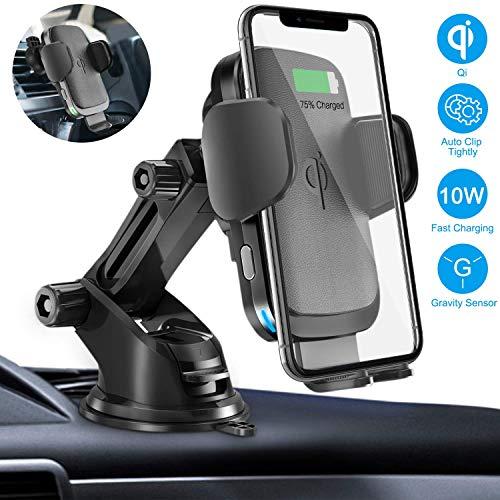 Caricatore Wireless Auto 10W/7.5W, Ricarica Wireless Rapida con l'elasticità automatico/Clamping automatico Supporto telefono Con Sensore di gravità per il parabrezza, cruscotto e Air Vent