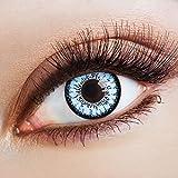 aricona Farblinsen farbige Kontaktlinsen mit Stärke blaue 12 Monatslinsen | natürliche Jahreslinsen für Big Eyes | bunte Contact Lenses blau farbig | - 4 Dioptrien