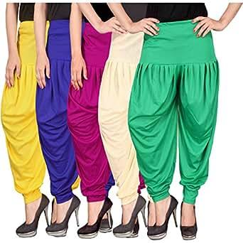 Culture the Dignity Women's Lycra Dhoti Patiala Salwar Harem Pants CTD_00YB1M1CG_2-YELLOW-BLUE-MAGENTA-BEIGE-GREEN-FREESIZE -Combo Pack of 5