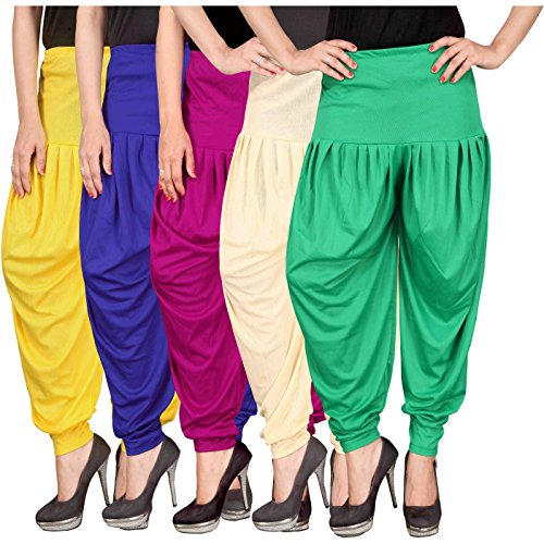 Culture the Dignity Women\'s Lycra Dhoti Patiala Salwar Harem Pants CTD_00YB1M1CG_2-YELLOW-BLUE-MAGENTA-BEIGE-GREEN-FREESIZE -Combo Pack of 5