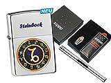 Zippo Sternzeichen Steinbock mit Zippo Geschenkset und L.B Chrome Stabfeuerzeug