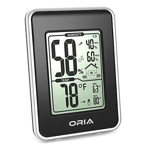 Oria Digitales Thermo Hygrometer Thermometer, Indoor Digital Hygrothermograph, Multifunktionaler Temperatur und mit MIN/MAX Records + Großer LCD-Bildschirm - Schwarz