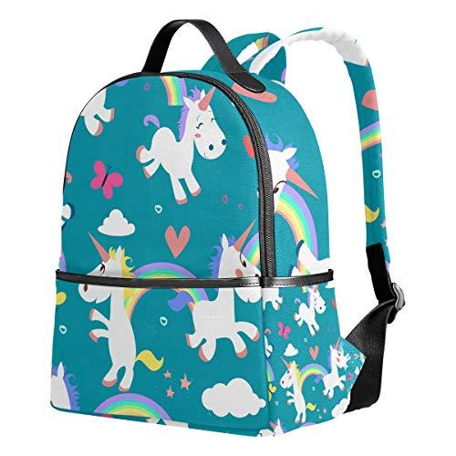 Ahomy Rucksack für Mädchen, Cartoon-Einhörner, Regenbogen, Insekten, Wolken, Herzen, Rucksack, Schule, Buchtaschen, Casual Daypacks für Reisen und Sport