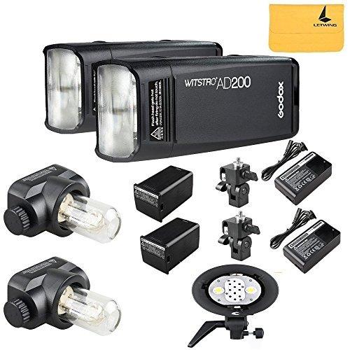 GODOX AD200 TTL 2.4G HSS 1/8000s 2X Pocket Flash Light Double Head 200Ws with 2900mAh Lithium Battery Flashlight Flash Lightning+GODOX AD-B2 Dual Power Flash Head S-Type Bracket Double Lamp Holder Digitale Flash-bracket Kit