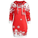 Riou Weihnachtskleid Pulloverkleid Damen Herbst Langarm Schneeflock Lang Gedruck Knielang Hoodie Sweatshirt Blouse Kleider (S, Rot F)