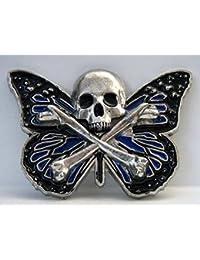 Buckle mit Totenkopf und Schmetterling, Butterfly Skull - Gürtelschnalle