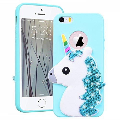 best service 8da07 48d88 SmartLegend Case for Apple iPhone 5 5S SE, iPhone SE Case Silicone iPhone  5S Soft Back Cover For Girls Bling Glitter Diamond Cute 3D Cartoon Unicorn  ...