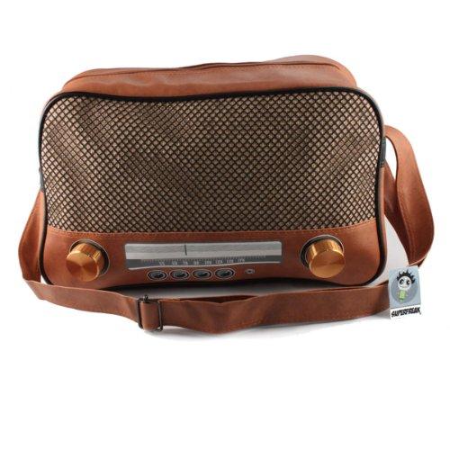 """Super Freak® Borsa """"Radio Borsa a tracolla borsa grande e orizzontale, tutti i colori. Braun - Drehregler gold"""