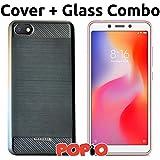 Xiaomi Redmi 6A Back Cover Case & Tempered Glass Combo by Popio®