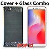 #5: Xiaomi Redmi 6A Back Cover Case & Tempered Glass Combo by Popio®