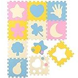 LittleTom Puzzlematte Spielmatte gemischte Motive Pastellfarben Spielteppich Schaumstoff Puzzle Kinderteppich