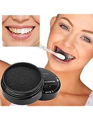 AMUSTER Poudre de blanchiment des dents Crème dentaire au bambou à base de charbon naturel activé naturel (noir(30g))