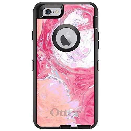 DistinctInk Fall für iPhone 6 / 6S (Not Plus) Otterbox Defender Gewohnheits-Fall Pink, Blau, Weiß Marmorbilddruck auf schwarzen Kasten - 6 Blau Otterbox-fälle Iphone