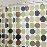 InterDesign 183 x 183 cm cortina de ducha de tela suave geométrico, verde/marrón