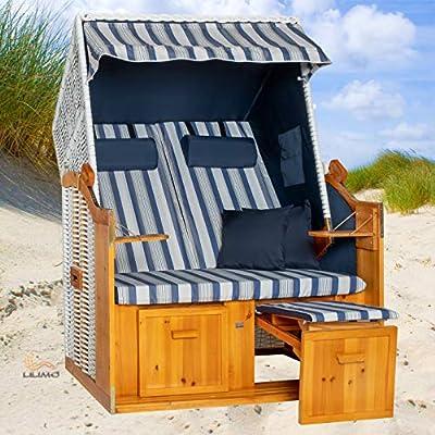 Strandkorb Ostsee blau, Geflecht weiß, Variante D, LILIMO ®