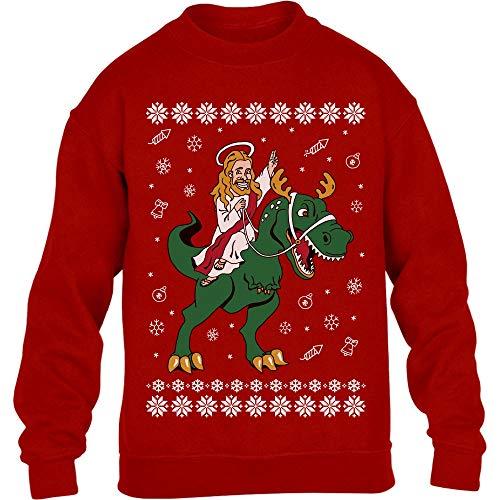 Hässlicher Weihnachtspullover - Jesus Reitet Auf Dino Kinder Pullover Sweatshirt 134-146cm Rot
