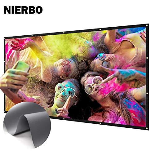 Projector Screen, NIERBO neues Upgrade Metall Beamer Leinwand Ultrahohe Farbsättigung und Kontrast Projektionsleinwand 100 Zoll 16 9 Gewinn 2.4 1018P 4K HD 3D Beamer Screen 224 × 128 cm