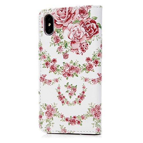 iPhone X Flip Cover, Custodia Libro Pelle PU e TPU Silicone con Funzione Supporto Chiusura Magnetica Portafoglio Libretto Bumper Case per iPhone X, Farfalle Rose