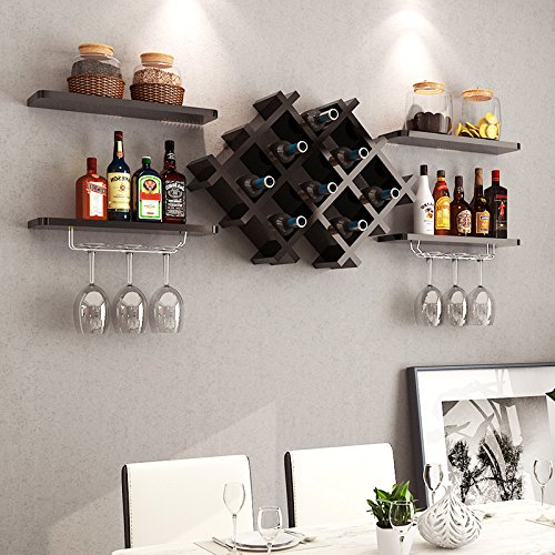 BR Wall Shelf Wine Cabinet Display De Almacenamiento De Pared Wine Rack Red  Wine Glass Holder