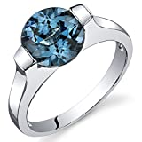 Revoni Bezel Set 2.25 carats London Blue Topaz Engagement Ring in Sterling Silver