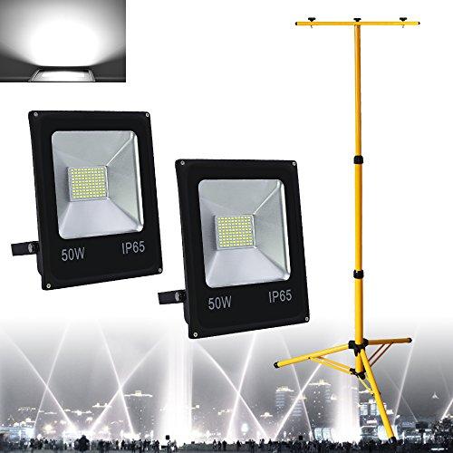VINGO® 2X 50W LED Fluter Außen Scheinwerfer Kaltweiß+ Doppelt Teleskop Stativ IP65