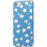 Phone Kandy® La caja del gel de silicona transparente de los lados de TPU de Bling del brillo carcasa funda (iPhone 6 6s Plus (5.5 pulgadas), Estrellas azules)