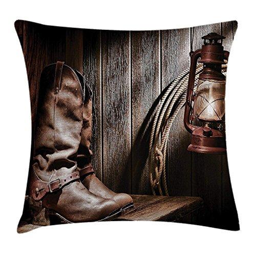 Zhengzho Kissen KissenbezugDallas Cowboys Laterne auf Einer Bank folkloristischen Druck der Vintagen Ranch Decor Square Pillow Case 45x45 cm