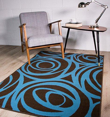 zeitgenössisch moderner blau-brauner Design-Teppich mit Blumen-Silhouetten 60cm x 240cm (X Rag-rug-5 7)