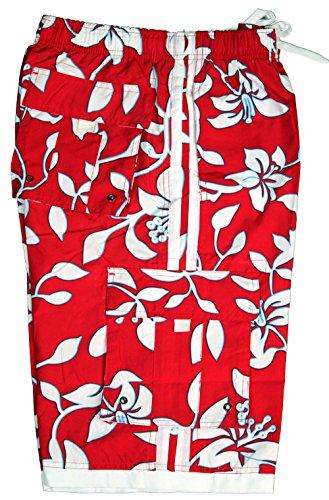 Tronco-de-bao-para-hombres-Palm-Wave-en-Rojo-con-flores-blancas-S