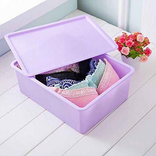 Desktop-typ (QUS (Stadt) Kunststoff Kunststoff Unterwäsche, Socken, BHS, Schubladen, Desktop Aufbewahrungsboxen, Schublade Typ Aufbewahrungsboxen, drei Sets Haushalt A purple bra with a grid)