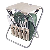 ‏‪Pure Garden Folding Garden Stool with Tool Bag Plus 5 Garden Tools‬‏