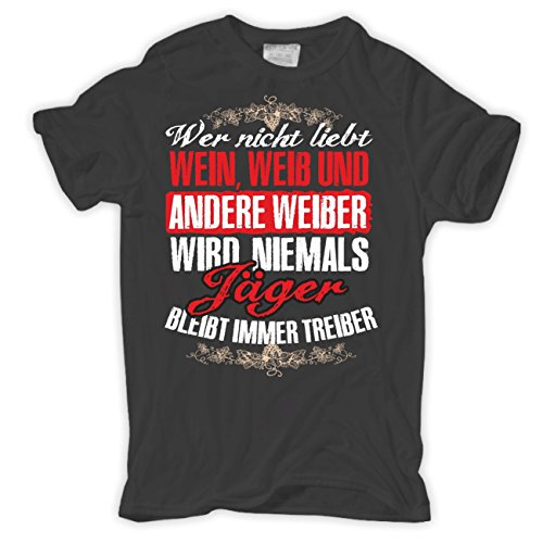 Männer und Herren T-Shirt So wirst du niemals Jäger Körperbetont grau