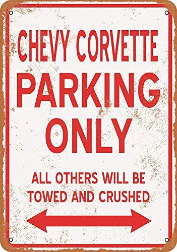YASMINE HANCOCK Chevy Corvette Parking ONLYMetal Plaque Tin Sign Poster Metall Plaque Zinn Logo Poster Wand Kunst Cafe Club Bar Wohnkultur -