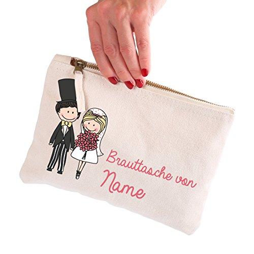 Herz & Heim® Brauttasche für wichtige Dinge die man bei der Hochzeit braucht mit Namen der Braut