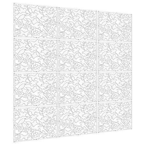 *Languan 12Schmetterling Blumen und Vogel Kunststoff zum Aufhängen Bildschirm Vorhang Raumteiler Partition white01*