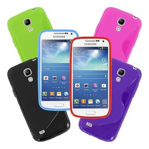 MPERO Sammlung 6 Packung von Flexible S-Shape Case Tasche Hülles for Samsung Galaxy S4 Mini - Schwarz, Purple, Light Blau, Red, Hot Pink Rosa, Neon Grün