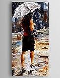 OFLADYH ® Ölgemälde, eine Frau mit einem Regenschirm Hand bemalte Leinwand mit gerahmten gestreckt