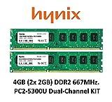 Hynix 4GB Dual-Channel KIT (2x 2GB) DDR2 667Mhz PC2-5300 (240 pin) PC Arbeitsspeicher RAM Memory 3rd DIMM