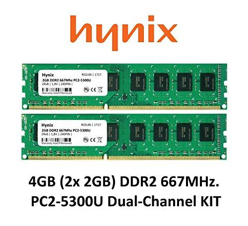 Hynix 4GB Dual-Channel KIT (2x 2GB) DDR2 667Mhz PC2-5300 (240 pin) PC Arbeitsspeicher RAM Memory 3rd DIMM (Pc2-5300 Ddr2 240 Pin)