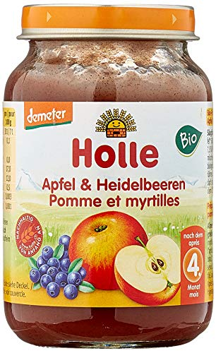 Holle Apfel & Heidelbeeren, 6er Pack (6 x 190 g) - Bio