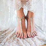 Simsly Boho Fußkette mit Zehenring Perle Knöchel Armband Fuß Zubehör Schmuck für Frauen und Mädchen (2PC)