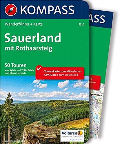 Sauerland mit Rothaarsteig: Wanderführer mit Extra-Tourenkarte 1:100.000, 50 Touren, GPX-Daten zum Download: Wandelgids met overzichtskaart (KOMPASS-Wanderführer, Band 5310)