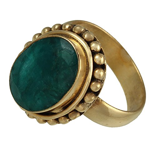 Messing Ringe Onyx grün facettiert 16mm oval Kugel Rand antik golden 58 (18.5) - Antik-ring-set