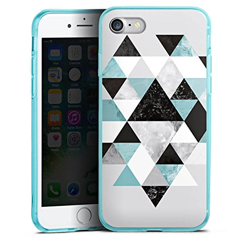 Apple iPhone 7 Silikon Hülle Case Schutzhülle Triangle Grafik Dreiecke Silikon Colour Case eisblau