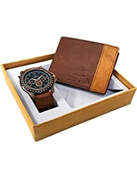 XPRA Analog Watch, Tan & Brown Genuine Leather Wallet For Men/Boys Combo (Pack Of 2) - (WCH-WL-20)
