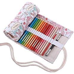 Abaría - Bolsa de lápiz de colores, mediana estuche enrollable 72 lápices, portalápices de lona, organizador para arte, parís 72 agujeros